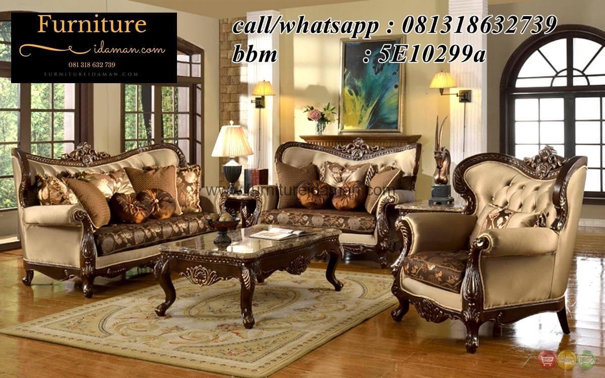 Set Sofa Ruang Tamu Mewah Jok Coklat Ksi 51 Furniture Idaman