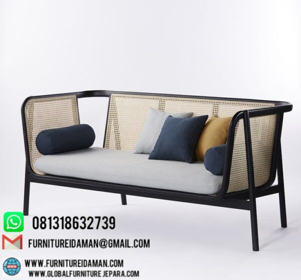 Kursi Bangku Sofa Rotan Minimalis,sofa unik,furniture unik,sofa rotan,kursi makan,sofa unik,kursi tamu
